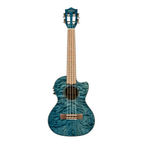 Lanikai Quilted Maple Blue stain Tenor with Kula Preamp A/E Ukulele