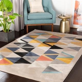 "Everleigh Multicolor Mid-Century Geometric Area Rug - 5'3"" x 7'3"""