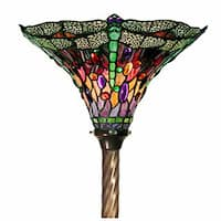 Warehouse of Tiffany Tiffany-style Dragonfly Stained Glass Torchiere Lamp