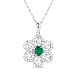 18K White Gold Pendant-Necklace; Round Green Emerald with White Diamonds