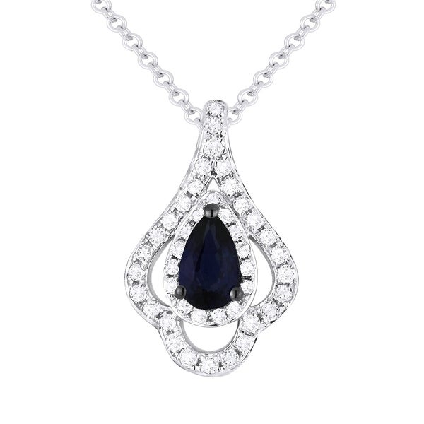 5bba4752d06b4 14K White Gold Pendant-Necklace; Pear Blue Sapphire with White Diamonds