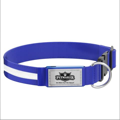 LED Large Dog Collar-Lights Up for Night Visibility and Safety- Adjustable, Rechargeable, 3 Flash Modes PETMAKER