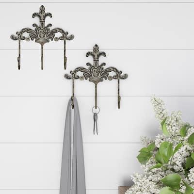 Decorative Hooks-3-Pronged Cast Iron Shabby Chic Rustic Fleur De Lis Lavish Home (Set of 2)