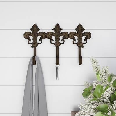 Decorative Hooks-3-Pronged Cast Iron Shabby Chic Rustic Fleur De Lis Lavish Home (Brown)