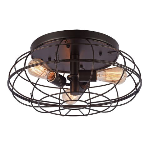 Valdemar Black 3-Light Flushmount with Black Shade