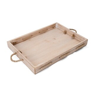 Elements 19-Inch Rope Natural Wood Tray