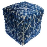 Arshs Fine Rugs Corine Blue/ Ivory Wool Upholstered Moroccan Handmade Ottoman