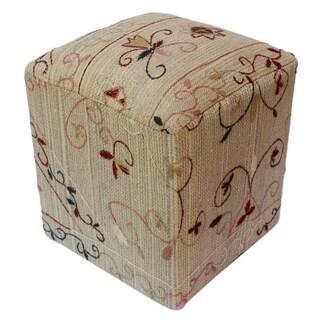 """Cynthia Gray/Tan Kilim Hand Embroidered Upholstered Ottoman (15""""x15""""x 20"""")"""