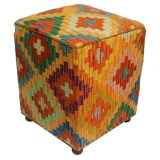 "Arshs Craig Orange/Rust Kilim Upholstered Handmade Ottoman(16""x16""x18"")"
