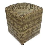 Arshs Danielle Tan/Grey Kilim Upholstered Handmade Ottoman