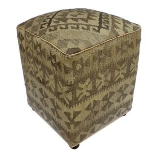 "Arshs Danielle Tan/Gray Kilim Upholstered Handmade Ottoman(16""x16""x20"")"