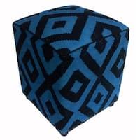 Arshs Delores Light Blue/Black Kilim Wool Upholstered Handmade Ottoman
