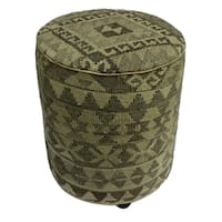 Arshs Deandra Sage Green Wool Kilim Upholstered Handmade Ottoman