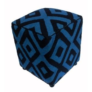 """Arshs Deloris Lt. Blue/Black Kilim Upholstered Handmade Ottoman(16""""x16""""x20"""")"""