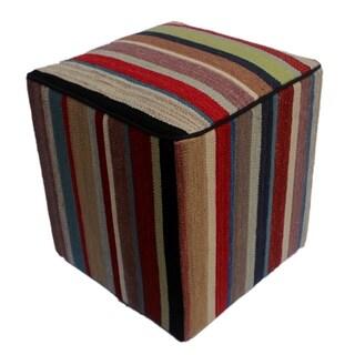 "Arshs Donna Red/Brown Kilim Upholstered Handmade Ottoman(17""x17""x18"")"