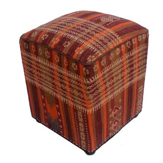 "Arshs Doria Orange/Purple Kilim Upholstered Handmade Ottoman(15""x15""x19"")"