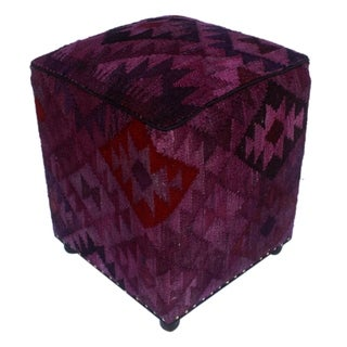 "Arshs Dominic Purple/Drk. Gray Kilim Upholstered Handmade Ottoman(16""x16""x20"")"