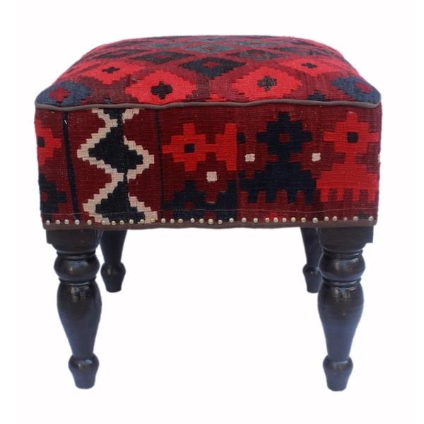 Arshs Dorothea Dark Red Black Wool Wood Kilim Upholstered Handmade Ottoman