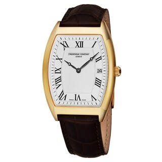 Frederique Constant Men's FC-220MC4T25 'Slim Line' Silver Dial Brown Leather Strap Yellow Goldtone Swiss Quartz Watch
