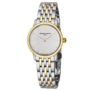 Frederique Constant Women's FC-200S1S33B3 'Slim Line' Silver Dial Two Tone Stainless Steel Swiss Quartz Watch