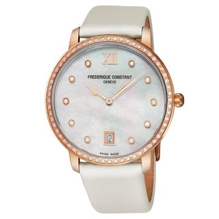 Frederique Constant Women's FC-220MPW4SD34 'Slim Line' Mother of Pearl Diamond Dial Cream Satin Leather Strap Swiss Quartz Watch
