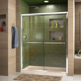 DreamLine Duet 36 in. D x 60 in. W x 74 3/4 in. H Bypass Shower Door in Chrome with Left Drain Biscuit Base Kit