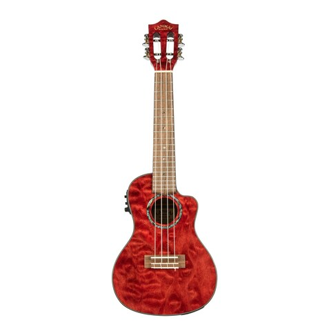 Lanikai Quilted Maple Red Stain Concert with Kula Preamp A/E Ukulele - N/A