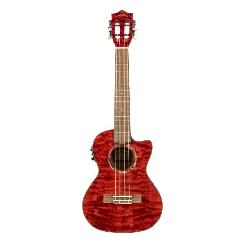 Lanikai Quilted Maple Red Stain Tenor with Kula Preamp A/E Ukulele - N/A