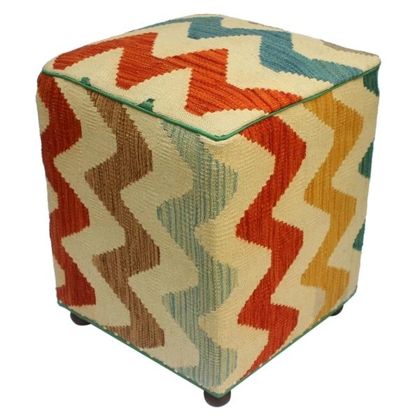 Shop Arshs Corrina Ivory Rust Kilim Upholstered Handmade