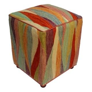 "Arshs Cory Ivory/Rust Kilim Upholstered Handmade Ottoman(16""x16""x18"")"