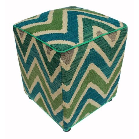 "Arshs Deidra Ivory/Green Kilim Upholstered Handmade Ottoman(16""x16""x20"")"