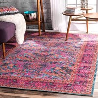 nuLOOM Pink Traditional Floral Area Rug - 9' x 12'