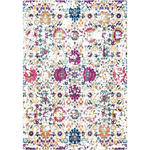 The Curated Nomad Stow Lake Vintage Floral Square Area Rug