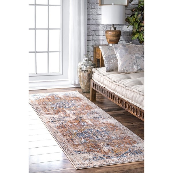 Nuloom Ivory Traditional Fancy Medallion Border Runner Area Rug 2 X27 6