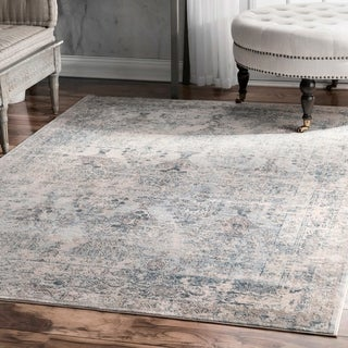 "nuLOOM Light Blue Fancy Antique Ambiance Ornamental Area Rug - 6'7"" x 9'"