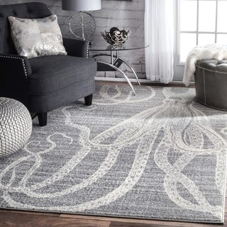 """nuLOOM Grey Made by Thomas Paul Faded Seaside Octopus Stripes Area Rug - 6'7"""" x 9'"""