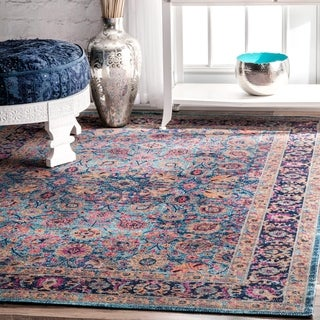"""nuLOOM Blue Traditional Lily Floral Area Rug - 6'7"""" x 9'"""