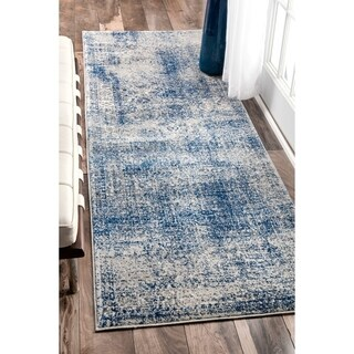 """nuLOOM Blue Contemporary Solid Braided Distressed Runner Area Rug - 2' 8"""" x 12'"""