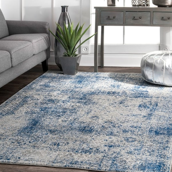 nuLOOM Blue Contemporary Solid Braided Distressed Area Rug