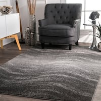 "Porch & Den Williamsburg Rodney Grey Contemporary Ombre Waves Area Runner Rug - 2'6"" x 12'"