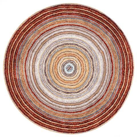 nuLOOM Handmade Striped Soft Plush Ombre Shag Rug