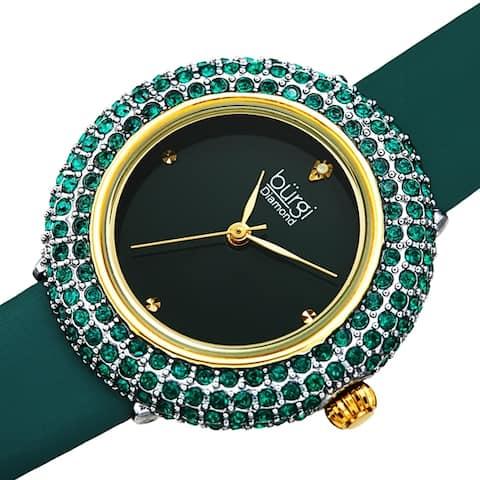Burgi Ladies Vibrant Colorful Swarovski Crystal Diamond Satin Leather Strap Watch