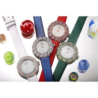 Link to Burgi Ladies Vibrant Colorful Swarovski Crystal Diamond Satin Leather Strap Watch Similar Items in Women's Watches