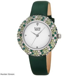 Burgi Ladies Vibrant Colorful Swarovski Crystal Diamond Satin Leather Strap Watch with FREE Bangle