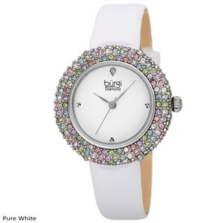 Burgi Ladies Vibrant Colorful Swarovski Crystal Diamond Satin Leather Strap Watch with FREE Bangle