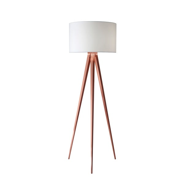 Shop Adesso Tripod Brushed Copper Director Floor Lamp