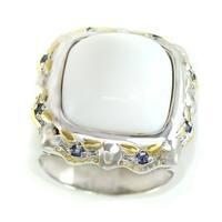 Michael Valitutti Palladium Silver White Opal & Blue Sapphire Ring
