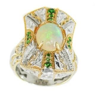 Michael Valitutti Palladium Silver Ethiopian Opal & Chrome Diopside Ring