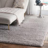 "Silver Orchid Silver Rita Soft and Plush Cloudy Solid Shag Square Area Rug - 7'10"" Square"