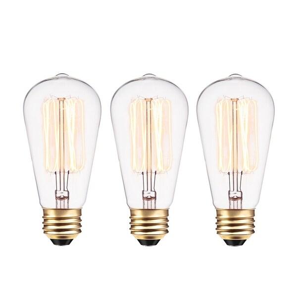 40W Vintage Edison S60 Incandescent Filament Light Bulb (3-Pack). Opens flyout.